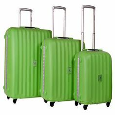 """Jetset in style with this timeless 3-piece luggage set, featuring 360-degree wheels and push-button retractable handles.  Product: Small, medium and large suitcaseConstruction Material: Aluminum, polypropylene, plastic and fabricColor: GreenFeatures:  Lined interior with mesh zippered pocket and extra compartmentsPush-button heavy-duty handle systemSelf-repairing excel zippers TSA approved lock system Multi-directional wheel spinner system  Dimensions: Small: 20"""" H x 14"""" W x 9"""" DMedium: 26""""…"""