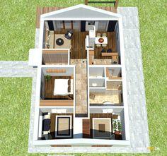 Nízkorozpočtový projekt domu bungalov na úzke pozemky Exterior, Planer, Wine Rack, Architecture Design, House Plans, Bookcase, Furniture, Home Decor, Wood Tool Box