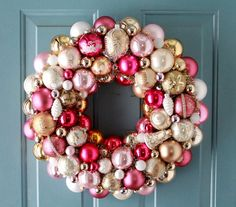 Pink and cream Christmas wreath | Request a custom order and have something made just for you.