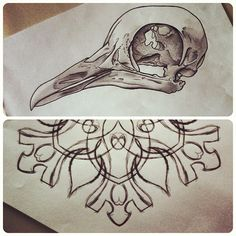 .@jonmdc | Going back through some old sketches and would love to tattoo a pigeon skull ...