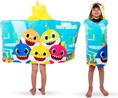 Baby Shark Hooded Towel Bath Wrap Toddler beach towel - Personalized Toddler Beach, Beach Kids, Toddler Fun, Sharks For Kids, Hooded Bath Towels, Towel Wrap, Beach Wrap, Baby Towel, Kids Beach Towels