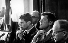 Hearing of the Senate Select Committee to Investigate Improper Activities in Labor-Management Relations. Chief Counsel Robert F. Kennedy and Senator John F. Kennedy listen as Senator Karl E. Mundt of South Dakota questions a witness. Les Kennedy, Robert Kennedy, Jackie Kennedy, Senator Kennedy, Douglas Jones, Familia Kennedy, John Junior, I Robert, John Fitzgerald