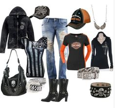 A fashion look from February 2014 featuring BKE tops, Harley-Davidson boots and Harley-Davidson hats. Biker Chick Outfit, Biker Chick Style, Lady Biker, Biker Girl, Harley Davidson Kleidung, Harley Davidson Womens Clothing, Harley Gear, Biker Wear, Casual Outfits