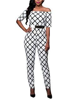 1248ebc2f19c Cfanny Women s Off Shoulder Printed Sleeves Belted Long R... https