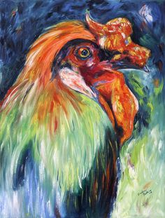 Mister Fancy - Original Oil Painting  Original, 18x24, contemporary oil painting and prints available of this colorful rooster.