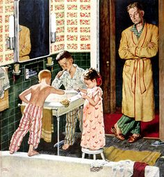 Bedtime Ritual, art by Amos Sewell - detail from January 29, 1955, Saturday Evening Post cover.