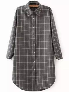 Grey+Lapel+Long+Sleeve+Plaid+Shirt+Dress+15.49