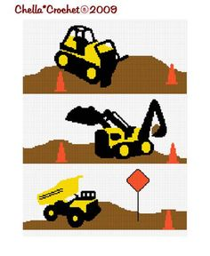 INSTANT DOWNLOAD Chella Crochet Construction Area Dump Truck Bulldozer Backhoe Afghan Crochet Pattern Graph on Etsy, $4.00