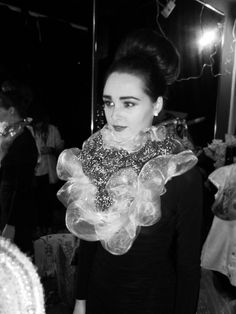 Model wearing my neck piece made from pan scrubbers and plastic netting for Chameleon 2014.
