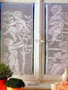 Il blog di Vera Maglia&Uncinetto: TENDINA UNCINETTO FILET CON ANGIOLETTI Filet Crochet, Crochet Stitches, Cross Stitch Angels, Crochet Angels, Crochet Curtains, Window Coverings, Window Curtains, Hand Embroidery, Knitting