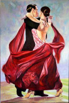 Latin dance oil portrait. Jian Sheng Shi Frank Shi Art Gallery