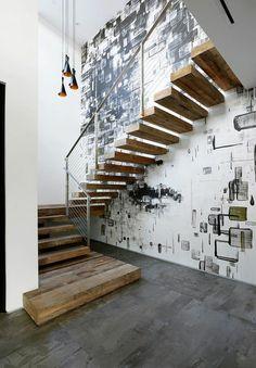 treppengeländer design metall holztreppe attraktive wand gestalten