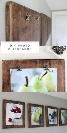 DIYs for Your Rustic Home Decor - For Creative Juice DIY Photo Clipboards: Group your favorite photos together to create a fun gallery wall! This is a unique way to show off your favorite photos and create a budget-friendly home decor. Diys, Rustic Wedding Photos, Rustic Pictures, Wedding Pictures, Diy Casa, Ideias Diy, Diy Photo, Wood Photo, Photo Kids