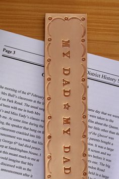 Handmade Leather My Dad Bookmark from Tina's Leather Crafts on Etsy.com.  Repin To Remember.