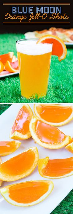 Blue Moon Orange Jello Shots  Next-Level Football Snacks You Need in Your Life Football Party • snacks • Tailgating • Snacks • Beer •