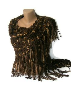 brown crocheted shawl ,women ,stole ,wrap, crochet brown shawl, scarf, for her, accessory, crochet trends,poncho,spring trends,All Seasons