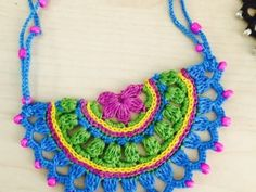 Anabelia craft design: How to make a Summer Crochet Shoulder Bag Crochet Necklace Pattern, Crochet Jewelry Patterns, Beaded Necklace Patterns, Crochet Flower Patterns, Crochet Bracelet, Crochet Accessories, Crochet Motif, Crochet Designs, Crochet Lace