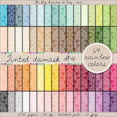 SALE 64 damask digital #scrapbooking paper in #rainbow colors. #Scrapbooking #printable papers or #patterns for #crafts, #journaling, party organization and decor or any #DIY projects. Now only $1.40!!