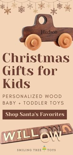 This holiday season, choose the very best wooden toy gifts for baby, toddlers, and kids that are educational, eco-friendly, and fun! These handmade toys are keepsake Christmas gifts that teach children through play-based learning, whether it be a young baby working on their motor skills or a preschooler learning the alphabet. #stockingstuffers #christmasgifts Play Based Learning, Learning The Alphabet, Toddler Toys, Kids Toys, Wooden Baby Toys, First Birthday Gifts, Childrens Gifts, Christmas Gifts For Kids, Toys Shop