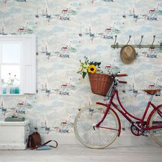 Sanderson Vintage Wallpaper II Carousel - Sail Away WP Main Seaside Wallpaper, 1950s Wallpaper, Boat Wallpaper, Nautical Wallpaper, Green Wallpaper, Wallpaper Online, Print Wallpaper, Fabric Wallpaper, Designer Wallpaper