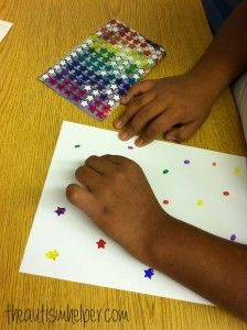 """Placing stickers on coloured dots ("""",)"""