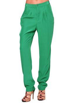 Shoptiques — Green Minke Silk Skinny Pant