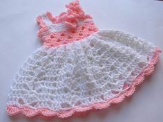 Beautiful lace crocheted baby dress in snow white and pink -perfect for any special occasion- Christmas, a birthday ,Christening blessing, wedding and lots more!  Please select the size before order!  Interested in other colors or sizes? Add listing to cart, purchase, and enter preferences in the message to buyer box for quick and simple customization!  size chart- length of dress  preemie (please specify weight if possible) newborn 0-14 days: 12 inches 0-3 months: 13 inches 3-6 months: 14…