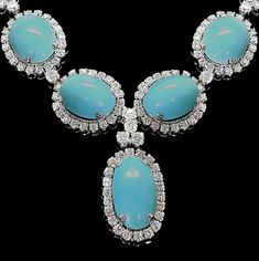 Tapering Cabochon Turquoise 24.50ct Diamond Gold Necklace | |JV