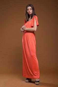 c1376d7039f vintage 70s maxi hostess dress rosey orange slinky knit split sleeve draped  belted extra large XL - plus size 1X