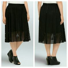 Mesh Stripe A-Line Midi Skirt  Plus size black A style standard - the A-line skirt - looks to the future with black mesh stripes. An eye-catching texture (that's even more fun to move in) the mixed stripe design shakes up the classic silhouette. Slip underlay provides coverage. Zip back.  Polyester Hand wash cold,  line dry Imported plus size skirt torrid Skirts Midi