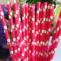 Free shipping new color polka dot  Drinking Straws,Paper Straws, panton #193 color with white color 500pcs