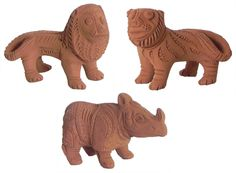 Lion, Tiger and Rhinoceros (Terracotta)