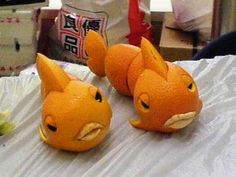 #Fish from oranges. Cute for a party. :-)