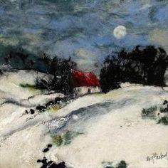 Moy McKay - felt snow landscape night moon by concetta Art Textile, Textile Artists, Wet Felting, Needle Felting, Felt Wall Hanging, Felt Pictures, Wool Art, Landscape Quilts, Winter Landscape