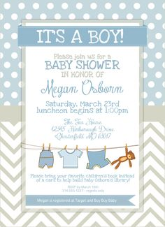 Baby Boy Elephant Shower Invitation Blue Baby Shower Pinterest