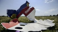 A piece of debris of the fuselage at the crash site of the Malaysia Airlines Flight MH17 near the village of Grabove, some 80km east of Donetsk, on 25 July 2014.