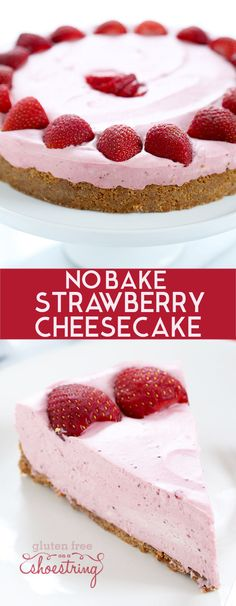 The perfect smooth and creamy no bake strawberry cheesecake, made with strawberries, cream cheese and whipped cream, plus a bit of gelatin and sugar. So quick and easy, it's the perfect warm weather treat! http://glutenfreeonashoestring.com/no-bake-strawberry-cheesecake/