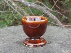 Brown Glazed Eggcup, Vintage Stoneware Egg Cup