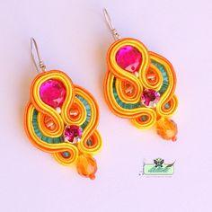 Soutache Earrings  in pink tangerine sunny by DILETTANTEsoutache, $58.00
