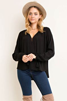 Solid V-Neck Blouse with Edge Ruffle Details