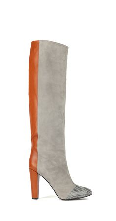 L'enfant Terrible - Studio 54 Grey suede and cognac leather kneehigh boots with snake toe