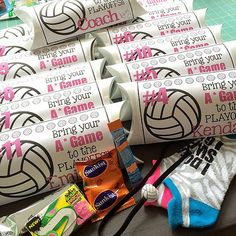 Volleyball Playoffs Team Gift!!! Team name: A Game whats in it: cute socks, fruit chews, gum, granola bar, orange crush single serve mixer and hair band that I glued a little volleyball on #volleyball #volleyballgifts | Flickr - Photo Sharing!