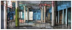 """""""Rosa"""" ink and gouache on collaged paper. architectural interior abstraction about memory. 13x34"""" www.meganmcglynn.com"""