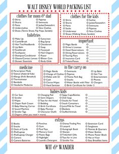 Free Printable Walt Disney World Packing List