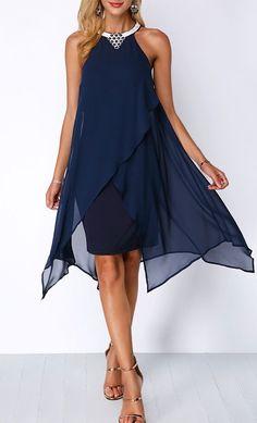 739b2449414f Asymmetric Hem Embellished Neck Navy Blue Chiffon Dress. Dresses Dresses