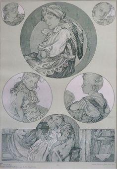 Figures Decoratives © Alphonse Mucha Estate-Artists Rights Society (ARS), Illustrators, Sketches, Sketch Book, Alphonse Mucha, Drawings, Artist, Art Deco Paintings, Alfons Mucha, Art Deco Artwork