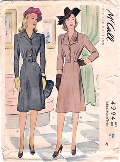 Great Vintage 1940s McCall 4994 WWII Style Button Front Shirtwaist in 2 Styles Shirtdress Sewing Pattern B42