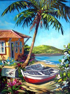 Relaxed vibe by steve barton tropical art пальмовые деревья, Landscape Art, Landscape Paintings, Hawaiian Art, Caribbean Art, Water Art, Surf Art, Tropical Art, Beach Art, Cool Art