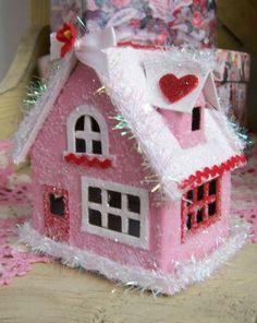 Vintage Style Valentine Pink Glitter House by saturdayfinds