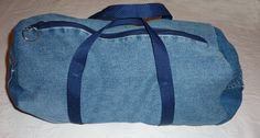 repurposed denim | Duffle bag-repurposed denim jeans